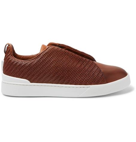 Triple Stitch Pelle Tessuta Leather Slip-on Sneakers - NavyErmenegildo Zegna bNlURgVSa