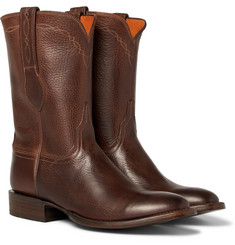 Kingsman - + Luchesse Statesman Embroidered Burnished-Leather Boots