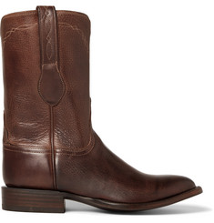 Kingsman-+ Luchesse Statesman Embroidered Burnished-Leather Boots