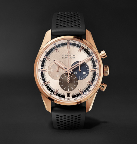 El Primero Chronomaster 1969 42mm Rose Gold And Rubber Watch - Black