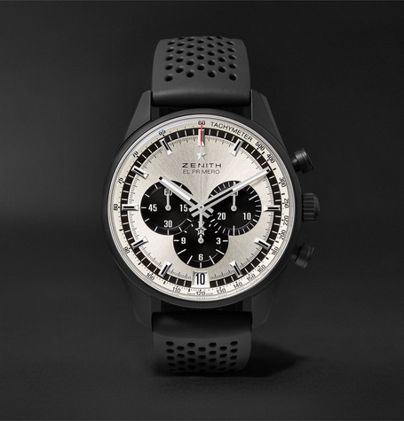 El Primero Chronomaster 1969 42mm Ceramicised Aluminium And Rubber Watch - Black