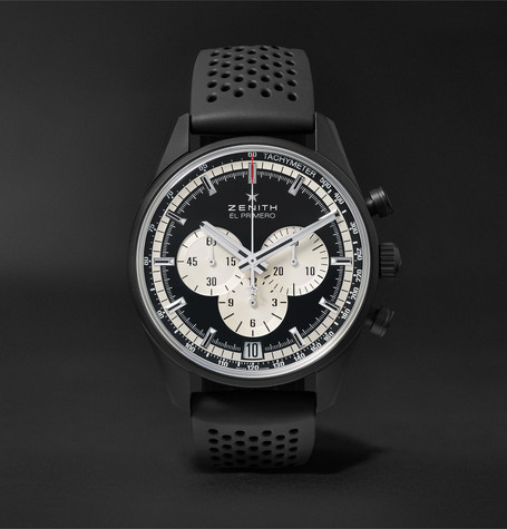 El Primero Chronomaster 45mm Ceramicised Aluminium And Rubber Watch - Black