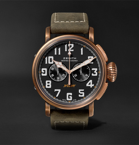 Pilot Type 20 Extra Special Chronograph 45mm Bronze And Nubuck Watch - Green