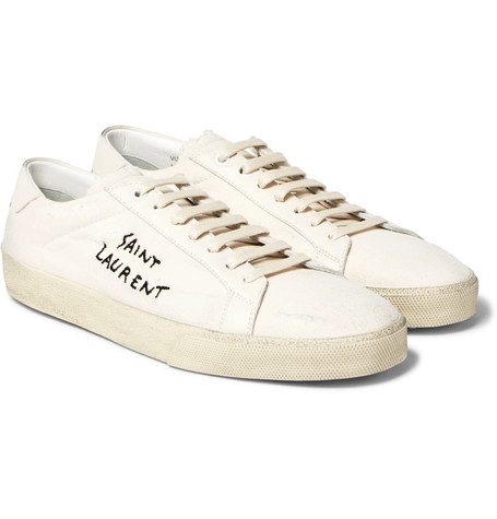 78d4544a619e SAINT LAURENT. SL 06 COURT CLASSIC DISTRESSED LEATHER-TRIMMED EMBROIDERED  CANVAS SNEAKERS