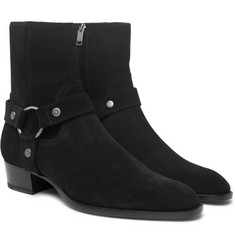 Saint Laurent - Wyatt Oiled-Suede Harness Boots