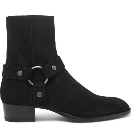 Wyatt Oiled-suede Harness Boots Saint Laurent qQTPk9n