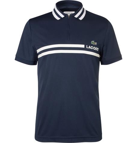 Lacoste Tennis Printed PiquÉ Tennis Polo Shirt In Navy