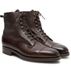 Edward Green - Galway Cap-Toe Textured-Leather Boots