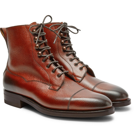 Galway Cap-toe Textured-leather Boots - Brick