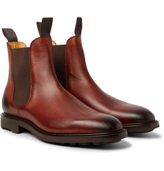 Edward Green - Newmarket Burnished Pebble-Grain Leather Chelsea Boots