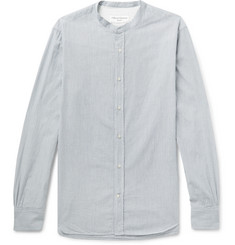 Officine Generale Gaspard Grandad-Collar Striped Cotton-Dobby Shirt