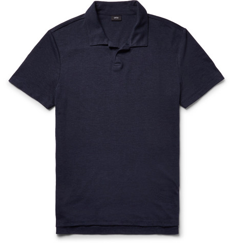 Shaun Slim-fit Linen-blend Polo Shirt - Storm blue