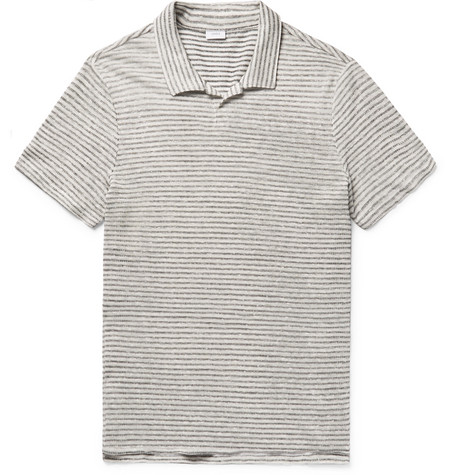 Shaun Slim-fit Striped Slub Linen And Cotton-blend Polo Shirt - Ivory