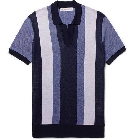 Horton Slim-fit Striped Cotton Polo Shirt