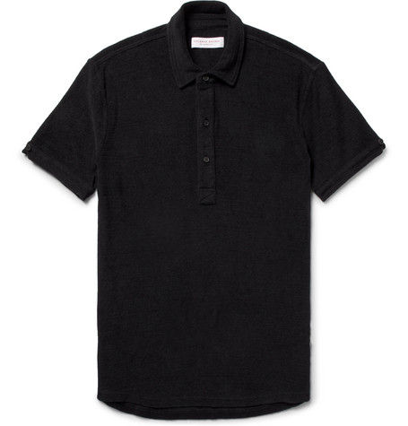 Sebastian Slim-fit Cotton-terry Polo Shirt - Black