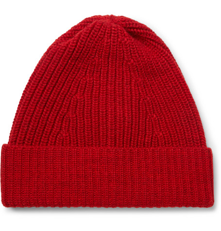 Ribbed Merino Wool Beanie - Red