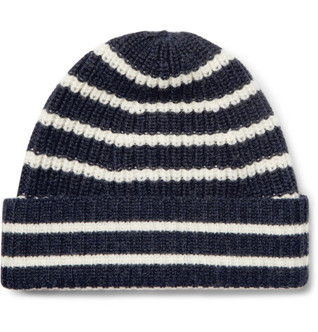 Striped Merino Wool Beanie - Navy