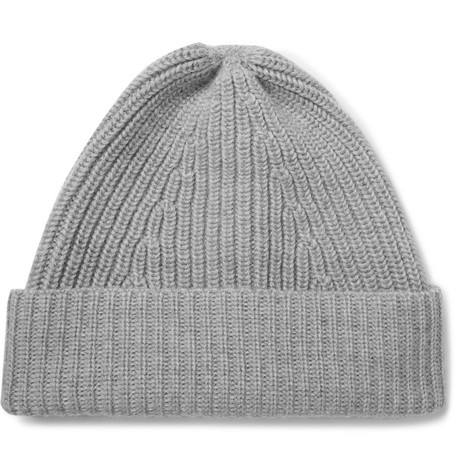 Ribbed Merino Wool Beanie - Gray