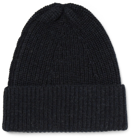 Ribbed Merino Wool Beanie - Navy