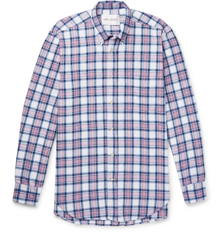 Button Down Collar Checked Cotton Flannel Shirt by Our Legacy