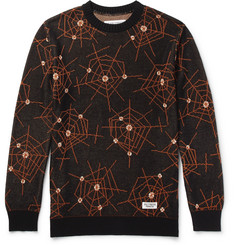 Wacko Maria Atomic Spider Jacquard-Knit Cotton Sweater