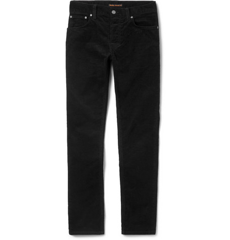 Grim Tim Slim-fit Organic Stretch-cotton Corduroy Jeans - Black