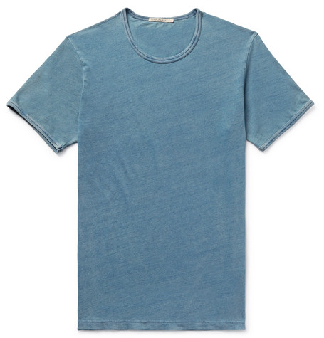 Kurt Slim-fit Indigo-dyed Organic Cotton-jersey T-shirt - Indigo