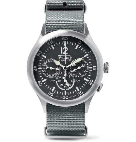TECHNE WATCHES Merlin 296 Stainless Steel and Webbing Watch