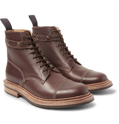 Grenson - Hunter Cross-Grain Leather Boots with Detachable Shearling Trims