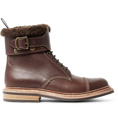 Grenson Flight Cross-Grain Leather Boots with Detachable Shearling Trims