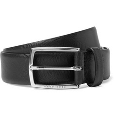 Hugo Boss - 3.5cm Black Celie-P Cross-Grain Leather Belt