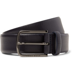 Hugo Boss - 3.5cm Navy Seraf Cross-Grain Leather Belt