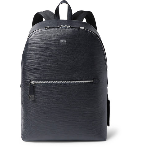 Timeless Textured-leather Backpack - Midnight blue