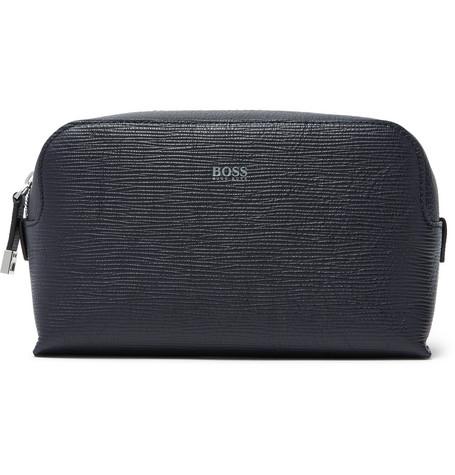 af70d443d0 Hugo Boss Timeless Textured-Leather Wash Bag In Navy