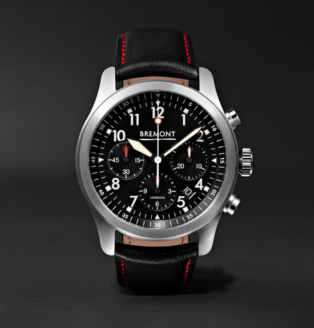 Alt1-p/bk Automatic Chronograph 43mm Stainless Steel And Leather Watch - Black