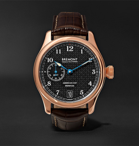 Ac35 America's Cup 43mm Rose Gold And Alligator Watch - Brown