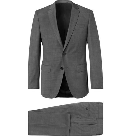 Hugo Boss - Grey Huge Genius Slim-Fit Textured Super 130s Virgin Wool Suit