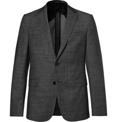 Hugo Boss Charcoal Slim-Fit Nobis Nailhead Wool Blazer