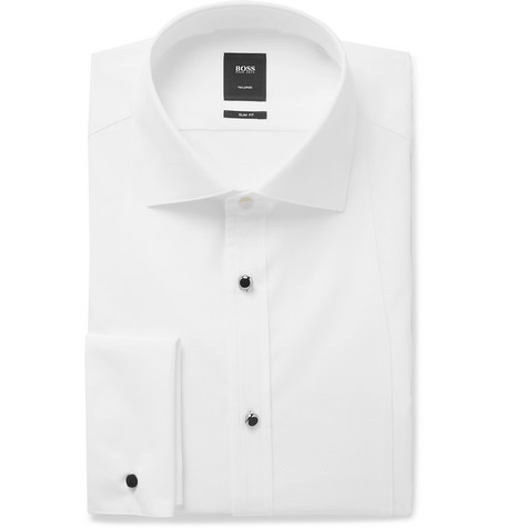 White T-calvin Slim-fit Bib-front Cotton Tuxedo Shirt - White