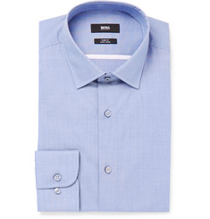 Hugo Boss Blue Jerris Slim-Fit Checked Cotton Shirt