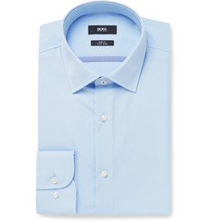 Hugo Boss Blue Jerris Slim-Fit Cotton-Poplin Shirt