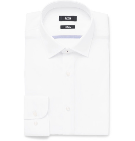 White Jerris Slim-fit Cotton-poplin Shirt - White