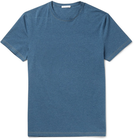 Acne Studios Edvin MÉLange Stretch-Cotton T-Shirt In Blue