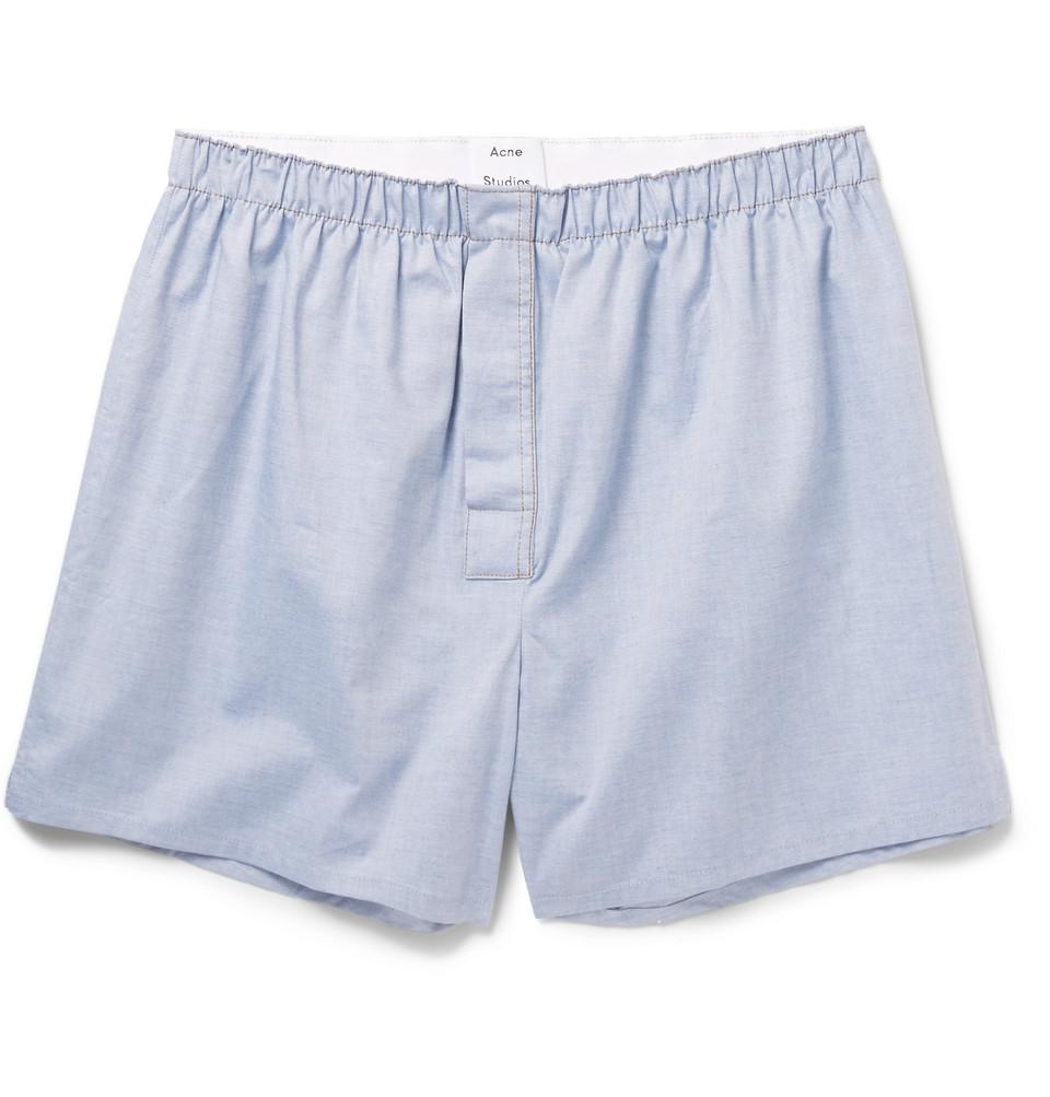 Boxa Cotton-chambray Boxer Shorts - Blue