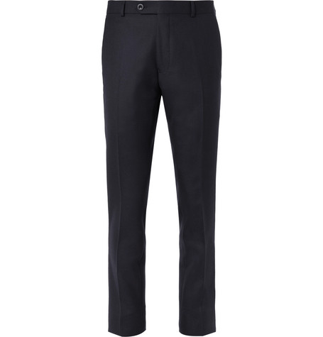 Mr P. Navy Worsted Wool Suit Trousers - Navy d2dunJOOZB