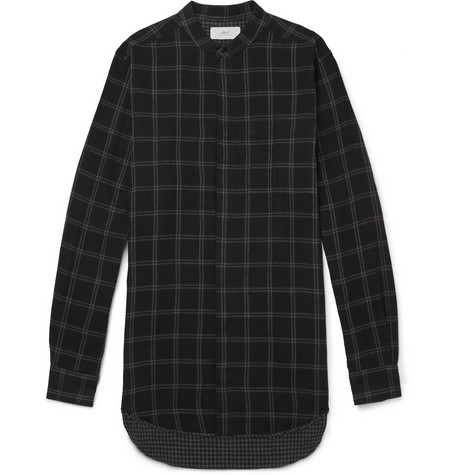 Grandad Collar Checked Cotton Shirt by Mr P.