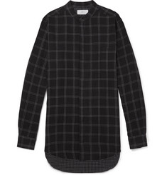 Mr P. Grandad-Collar Checked Cotton Shirt