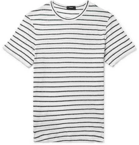 bf60fba9d02a9 Theory Striped Cotton And Linen-Blend T-Shirt - White