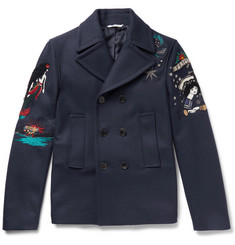 Valentino Embroidered Wool-Felt Peacoat