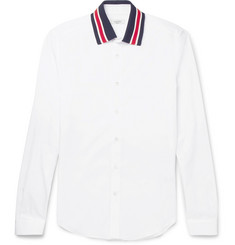 Valentino Slim-Fit Stripe-Trimmed Cotton-Poplin Shirt